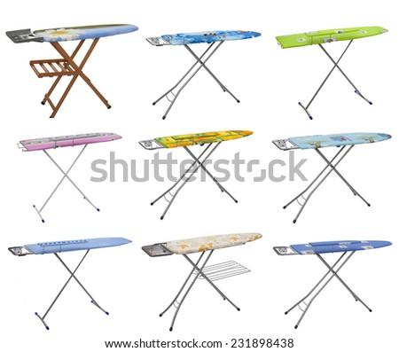 Collage, ironing tools on white background - stock photo