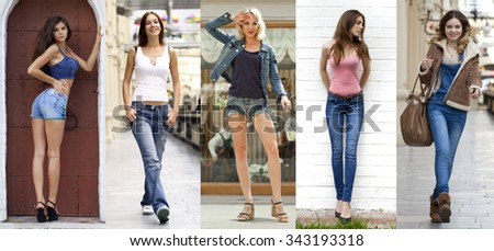 Collage Jeans Fashion. Portrait in full growth the young beautiful girls in blue jeans - stock photo
