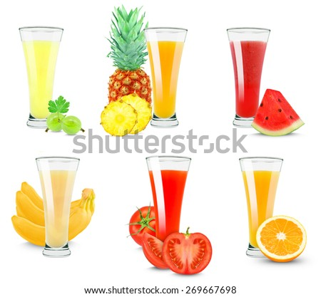 collage juices isolated on white background - stock photo