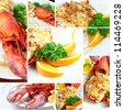 Collage Lobster thermidor salad, Macro closeup for design work - stock photo
