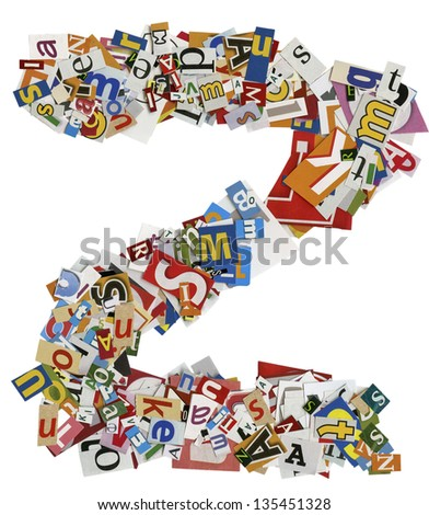 Collage made of newspaper clipping,  letters, ABC, - stock photo