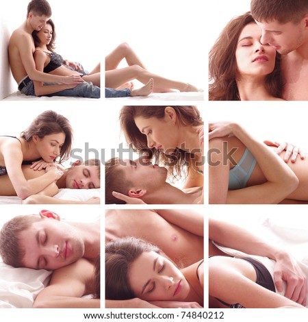 Collage made of some pictures with loving couple - stock photo