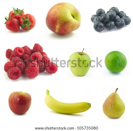 Collage made of various fruits on white background - stock photo