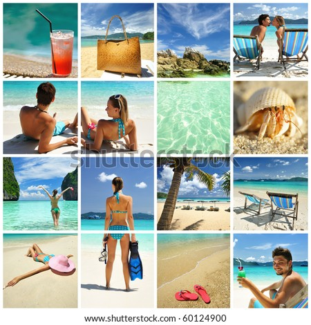 Collage made with beautiful tropical resort shots - stock photo