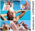 Collage made with beautiful young woman in poolside shots - stock photo