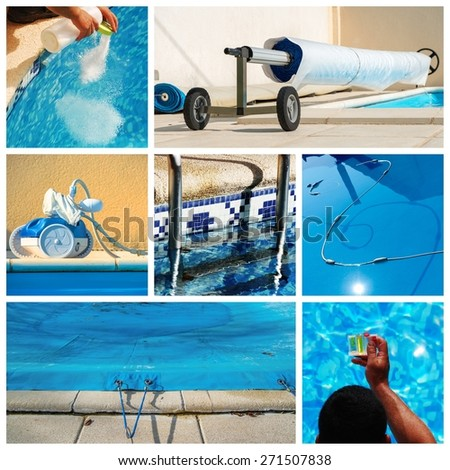 collage maintenance of a private pool - stock photo