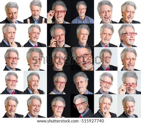 collage man faces with different expressions