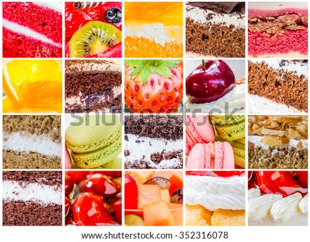 collage many cake with many beverages in set - stock photo