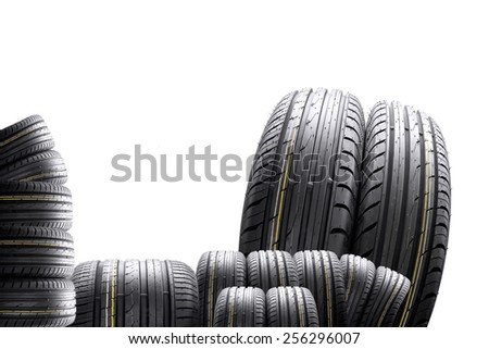 collage, many tires with the distorting effect on white background