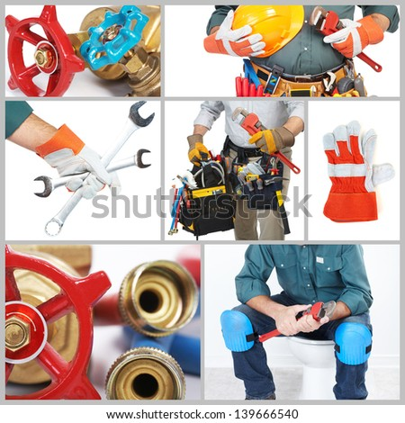 Collage. Mature contractor working. Over white background. Worker - stock photo