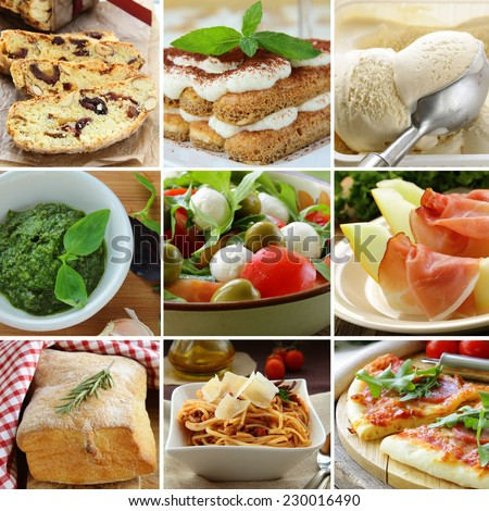 collage menu Italian food pyramid (desserts, salads, pizza and pasta) - stock photo
