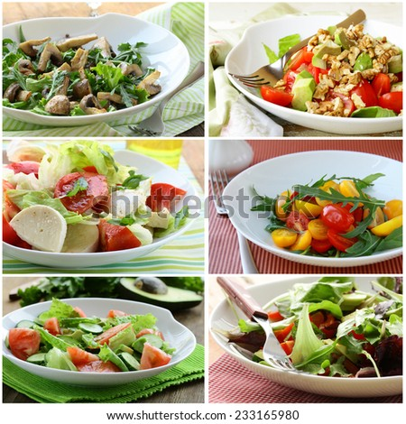 collage menu salads with vegetables, cheese and mushrooms