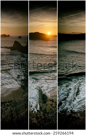 Collage nature, sunset at beach in vertical cuts - stock photo