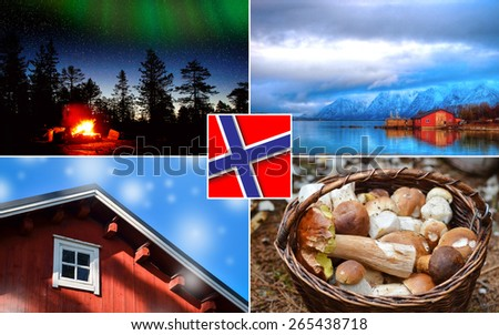 Collage Norway natural summer landmarks - stock photo