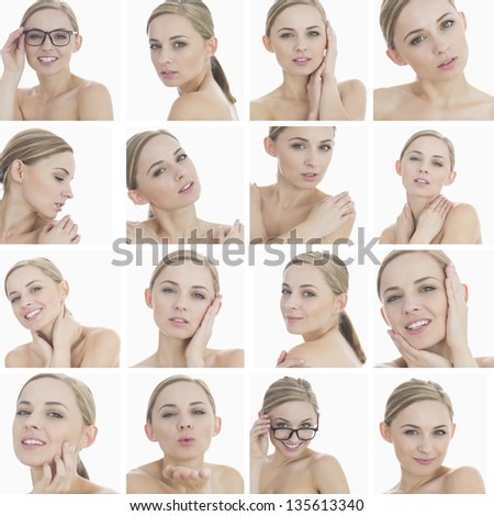 Collage of a beautiful blonde woman on white background