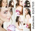 collage of a beautiful bride getting ready on her wedding day by doing make-up and hairstyling. - stock photo