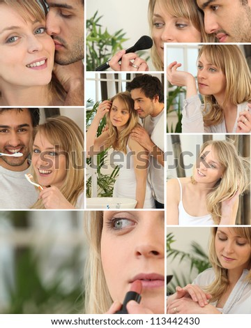 Collage of a beautiful woman - stock photo