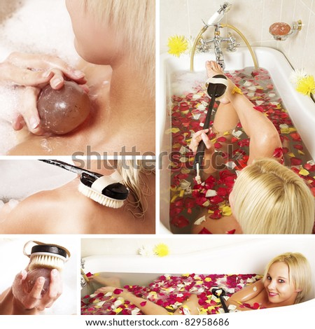 collage of a beautiful young blonde woman in a Victorian bath filled with rose petals.