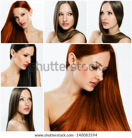 collage of a beautiful young woman , with long natural straight hair - stock photo
