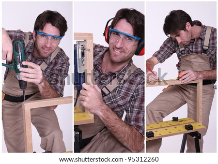 Collage of a carpenter at work - stock photo