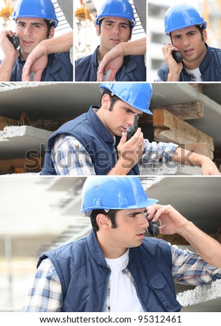 Collage of a construction worker and his walkie talkie - stock photo