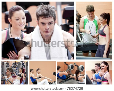 Collage of a couple doing exercises at a gym - stock photo