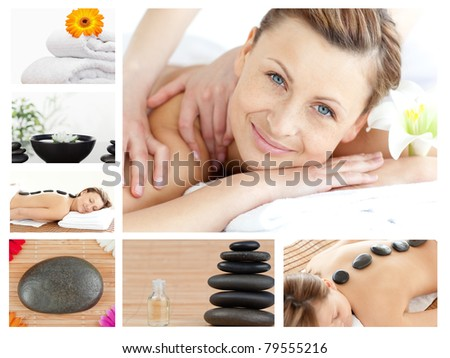 Collage of a good looking blond woman relaxing in a spa center