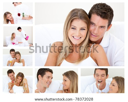 Collage of a lovely couple having fun at home - stock photo
