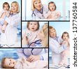 Collage of a lovely pediatrician and baby patient - stock photo