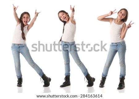 Collage of a lovely young girl doing positive signs. Isolated on white