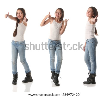 Collage of a lovely young girl doing positive signs. Isolated on white - stock photo