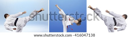 Collage of a man and girl hit a kick leg