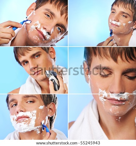 Collage of a shaving young man