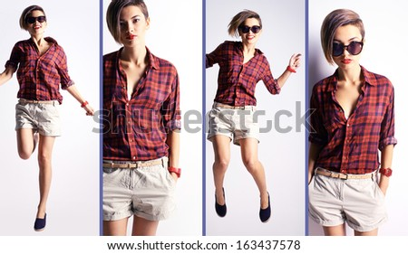 Collage of a stylish woman in casual clothes posing in isolation - stock photo