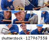 Collage of a tradesman - stock photo