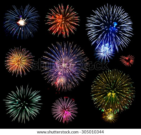 Collage of a variety of colorful fireworks isolated on black background