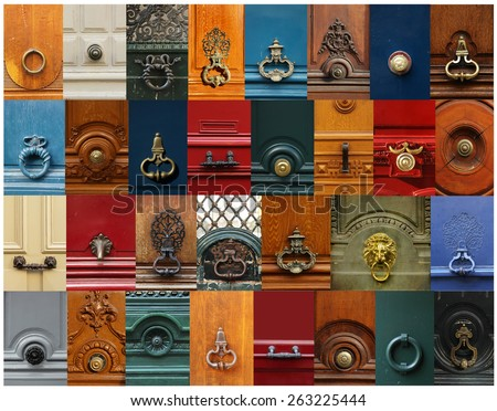 Collage of a variety of knockers and handles on doors in Paris, France. - stock photo