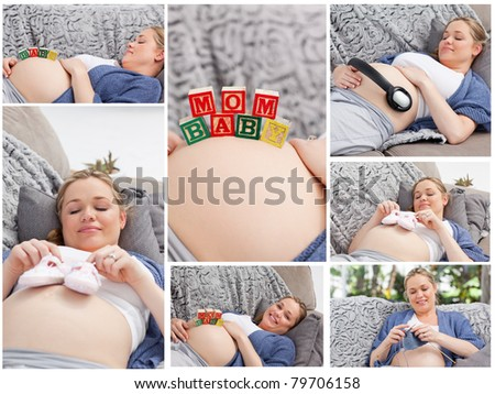 Collage of a woman during her pregnancy - stock photo
