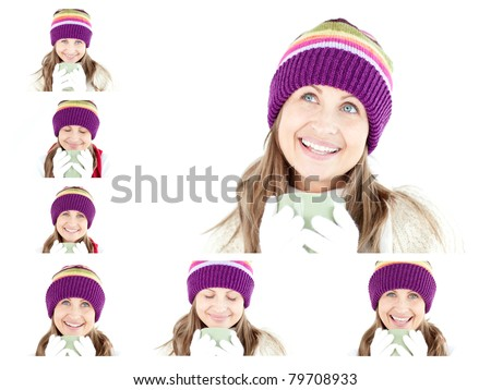 Collage of a young woman having a hot drink against a white background