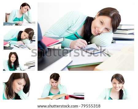 Collage of a young woman studying - stock photo