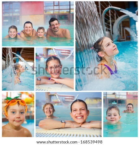 Collage of activities on the pool. Portrait of happy family of four relaxing in termal swimming pool - stock photo