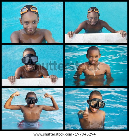 Collage of african child in the swimming-pool - stock photo