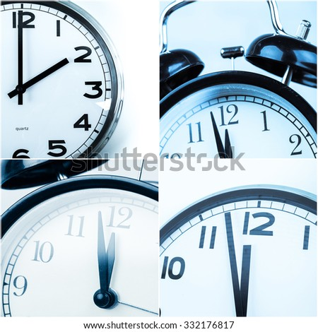 Collage of alarm clocks