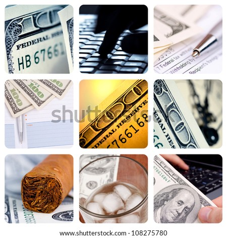 Collage of American hundred dollar-bills - contemporary business concept - stock photo