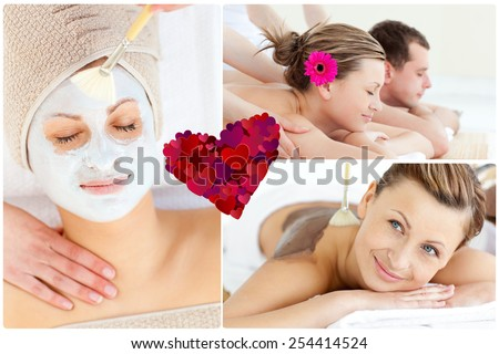 Collage of an attractive couple having relaxation treatments against heart - stock photo