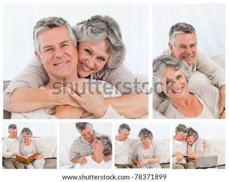 Collage of an elderly couple enjoying moments at home - stock photo