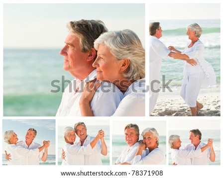 Collage of an elderly couple sharing good moments together on a beach - stock photo