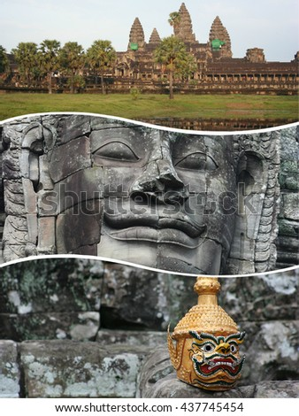 Collage of Angkor Wat ( Cambodia ) images - travel background (my photos) - stock photo