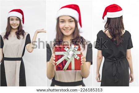 Collage of Asian Santa Claus female