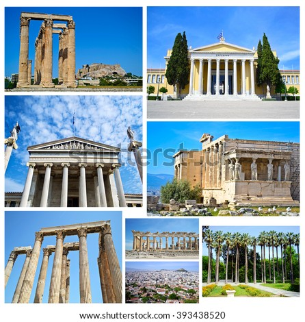 collage of Athens Greece - ancient landmarks of Athens Greece - stock photo